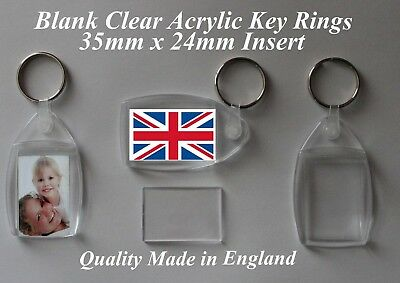 Quality Blank Clear Plastic/Acrylic  35mm X 24MM Insert Key Rings  Personalise