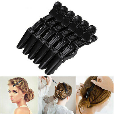 6Pcs Salon Black Sectioning Hair Clips Crocodile Clamp Hairdressing Grip Styling