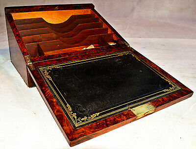 Mid Victorian Burr Walnut Stationery Box with Writing Slope
