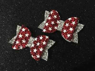 Girls christmas Red Silver sparkly star print hair bow Clip / bobble (Handmade)