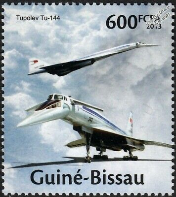 TUPOLEV Tu-144 Russian Supersonic Airliner Aircraft Stamp (2013 Guinea-Bissau)