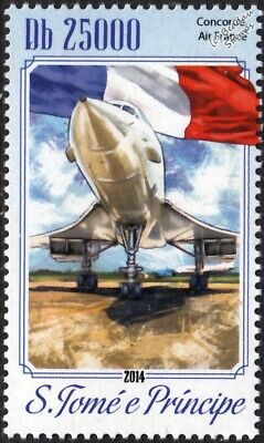 Air France CONCORDE Airliner Aircraft / Flag #2 Stamp (2014 St Thomas & Prince)
