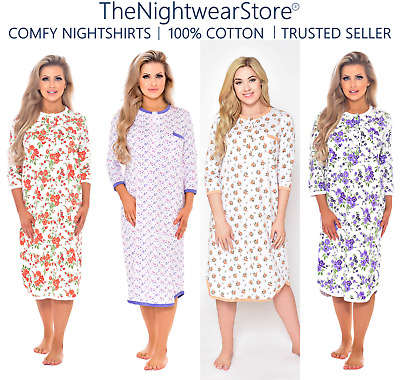 100% Cotton Nightdress Cotton Nightshirt 3/4 Sleeves (Size: 12-14 To 28-30!)