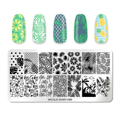NICOLE DIARY Nail Stamping Plates Tropical Rectangle Nail Art Stamp Stencil 089