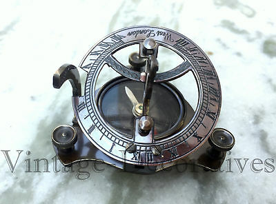 Solid Brass Sundial Compass Antique Finish Vintage Ship Model Compass