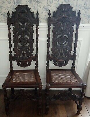 Pair of 17th century walnut Jacobean Dutch/Flemish dining chairs