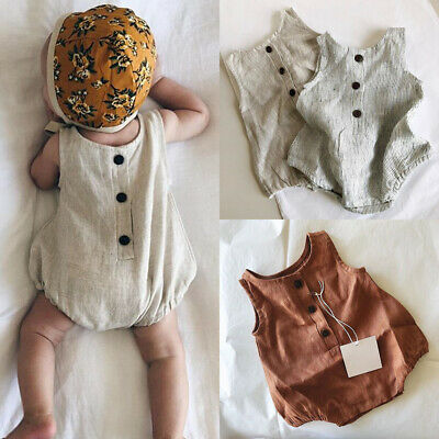 AU Summer Newborn Baby Girl Boy Clothes Cotton&linen Romper Bodysuit Outfits Set