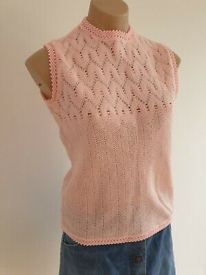 Original Vintage Japan 60s Pink knit Retro Pinup top S 10 to 12