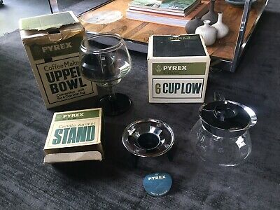 Rare Vintage JAJ Pyrex Coffee Maker Unit with 6 Cup Low Jug and Warmer - Boxed