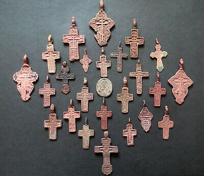 "RUSSIAN ORTHODOX CROSSES 18-19th OLD BELIEVER CENT  PSALM 68 ""EXORCISM"" CRUCIFIX"