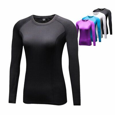 Women Gym Sport Shirt Tops Long Sleeve Thermal Compression Base Layer Dry Tee