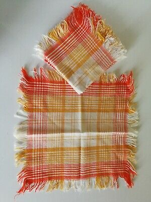 Superbe Suite De 6 Serviettes De Table Vintage - Vers 1960 / 70 - Coton Franges
