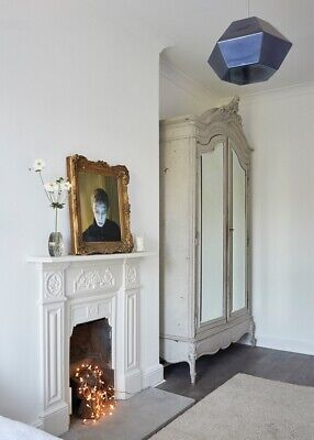 Antique French painted armoire wardrobe mirrored doors. Priced to sell.