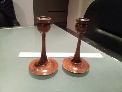 ARTS AND CRAFTS   style pair of candle sticks turned wood dish bases lined cups