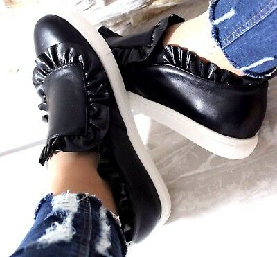 Womens Ladies Slip On Flat Skater Frilled Trainers Sneakers Plimsolls Pumps Size