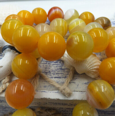 Natural Gemstone Round Spacer Loose Beads Wholesale 6-12mm Yellow stripes Onyx