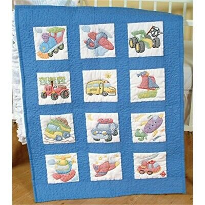 "Jack Dempsey Stamped White Nursery Quilt Blocks 9""x9"" 12/pkg-transportation"