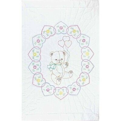 "Jack Dempsey Stamped White Quilt Crib Top 40""x60""-bear With Balloons"