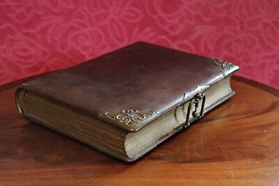 Antique Gorgeous Leather Bound English Victorian Photo Album, 1890's