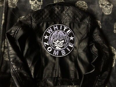 White Zomie Embroidered Patch Girls Vegan Faux Leather Biker Jacket Motorcycle