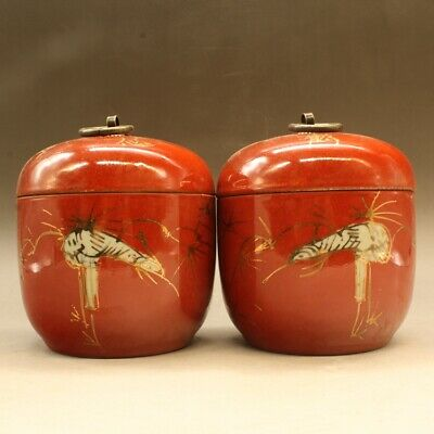 a pair Chinese old hand-made porcelain Songhak copper ring Cover pot