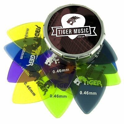Tiger Guitar Plectrums with Pick Tin - 12 Gel 0.46mm