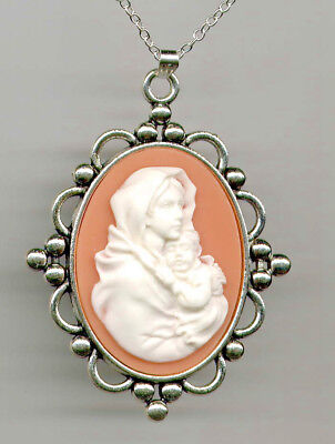 Antique Silver Coral Pink Madonna Child Mother Mary Baby Jesus CAMEO Necklace