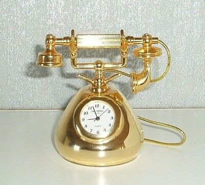 MINIATURE BRASS CLOCK 'TELEPHONE' VICTORIAN Wm WIDDOP BOXED VINTAGE COLLECTIBLE