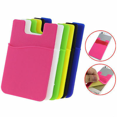 Adhesive Silicone Wallet ID Credit Card Cash Stick Holder Case For Smart Phones