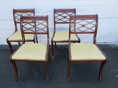 Solid Mahogany Set Of Four Dining Chairs By Lammerts 9655