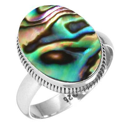 925 Sterling Silver Women Jewelry Natural Abalone Shell Ring Size 9.5 Jv79355
