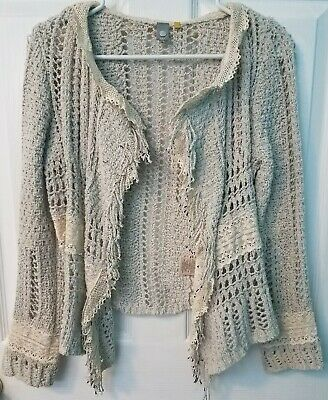 98f33972f370 Anthropologie Knitted & Knotted Crochet Summer Sweater/Cardigan w/ Lace,  size S