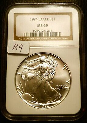 1994 Silver $1 ASE American Eagle NGC MS69 $125 Blast White Luster (R9)