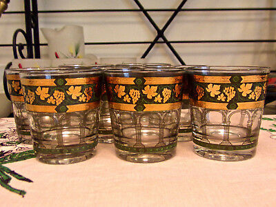 Cera Golden Grape-Green Old Fashioned Glasses Set Of Eight