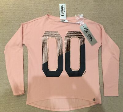 BNWT So Twee by Miss Grant Girls Peach Long Sleeved Studded T-shirt Age 10