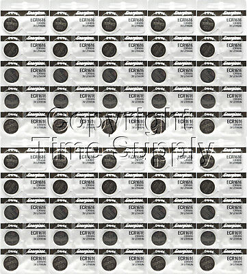50 pc 1616 Energizer Watch Batteries CR1616 CR 1616 Lithium Battery 3.0V 0% HG