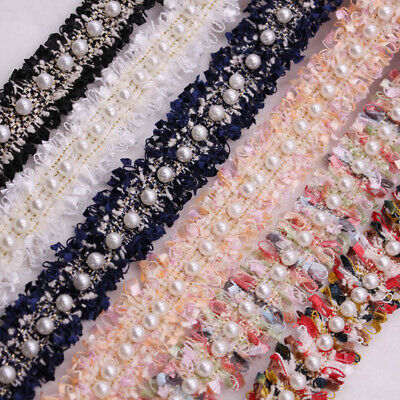 Embroidered DIY Craft Sewing Supplies Lace Trim Pearl Beaded Fabric Ribbon