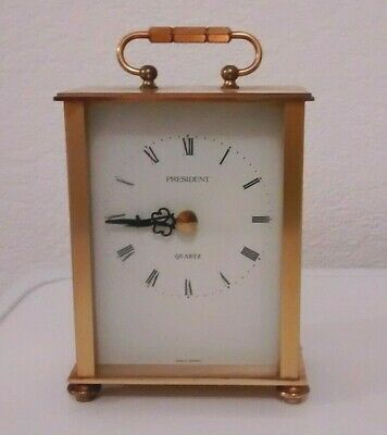 Vintage President Brass Quartz Carriage Clock - Appox Height with Handle 6 ins