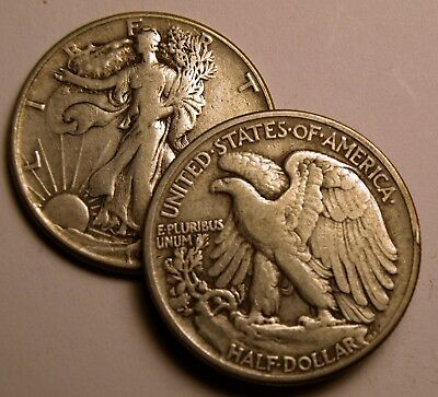 2 Coins - Walking Liberty Half Dollars 90% Silver U.S. Coin Lot - $1 Face Value