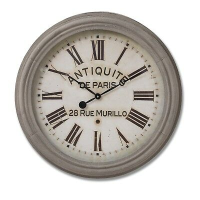Extra Large French Antique Style Paris Rue Murillo Grey White Round Wall Clock
