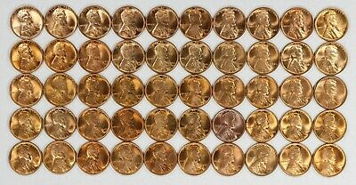 1945 Lincoln Wheat Cent Penny 1C Red Gem Bu Brilliant Unc Full Roll 50 Coins