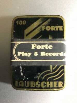 SEALED GRAMOPHONE PHONOGRAPH NEEDLE TIN - LAUBSCHER- Forte -play 5 records