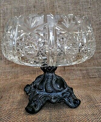 Clear Crystal Compote with Metal Base Stand Fruit Bowl Candy DishVintage.