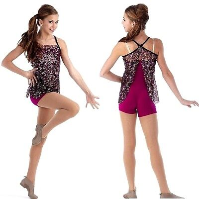 4bae52c78 Lights Dance Costume Multi Color Sequin Tunic and Unitard Jazz Tap Adult  XXLarge