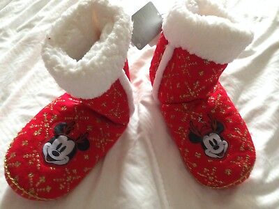 c9550167ff8c2 DISNEY STORE MINNIE & Mickey Mouse Holiday Boot Slippers Women Size ...