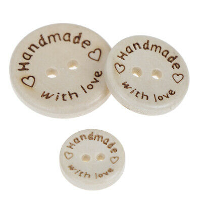 50pcs Handmade With Love Wooden Round Buttons With 2 Holes 3 Sizes -15/20/25mmSE