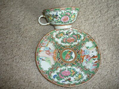 Famille Rose Medallion Cup & Saucer/ Hand Painted/ Early 1900'S/ Staple Repair
