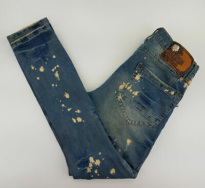 353c0e0b1caf4c Heritage America Men's Jeans 32x33 Distressed Ripped Splattered Blue A93-06