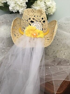 Aussie Cowgirl Wedding/Hens/Bachelorettes Hat With Removable Flowers & Veil