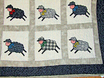 """Child's Lamb Sheep Quilt Appliqued Patchwork 35"""" X 45"""" Black White Gray Charming"""